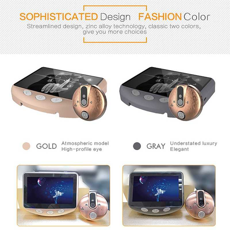 4.3 Inch Lcd-kleurenscherm Video-Eye Deur Viewer Ir Nachtzicht Visuele Deur Kijkgaatje Camera Foto/video Digitale Deurbel Cam