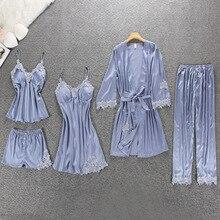 Mulheres Pijama 5 ZOOLIM Peças de Cetim Pijamas De Seda Pijama Desgaste Casa Home Wear Bordado Salão Sono Pijama com Almofadas No Peito