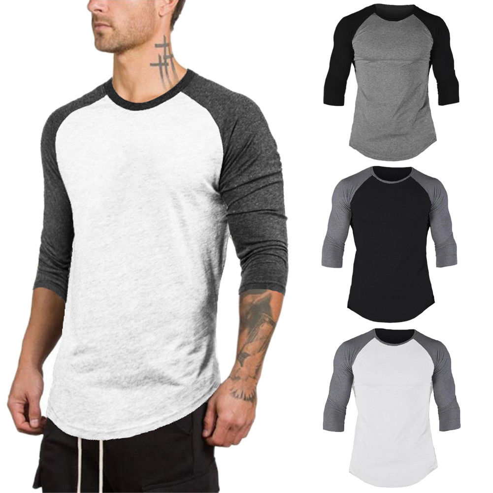 Hirigin Brand Harajuku Jogger 3/4 Sleeve Tshirt Mens Baseball Raglan Tee Jersey Lot T-Shirts Crew Neck Plain Tops Streetwear