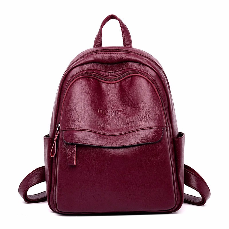 2019 Women Leather Backpacks High Quality Sac A Dos Femme Ladies Bagpack Luxury Designer Backpack Brand Casual Daypack Back Pack