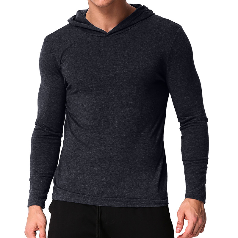 Autumn Men T Shirt Long Sleeve Hooded Bodybuilding Men Tee Tops Solid Casual Workout Slim Fit Camisetas Hombre T-shirt Men 2018