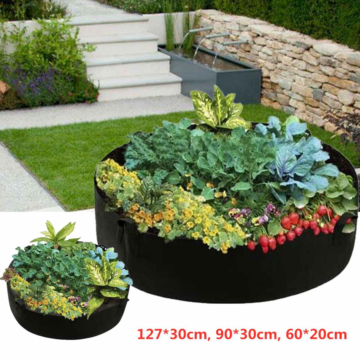 Us 7 0 52 Off Garden Raised Plant Bed Flower Planter Elevated Vegetable Box Planting Grow Bag Round Container Growbags Nursery Pot In