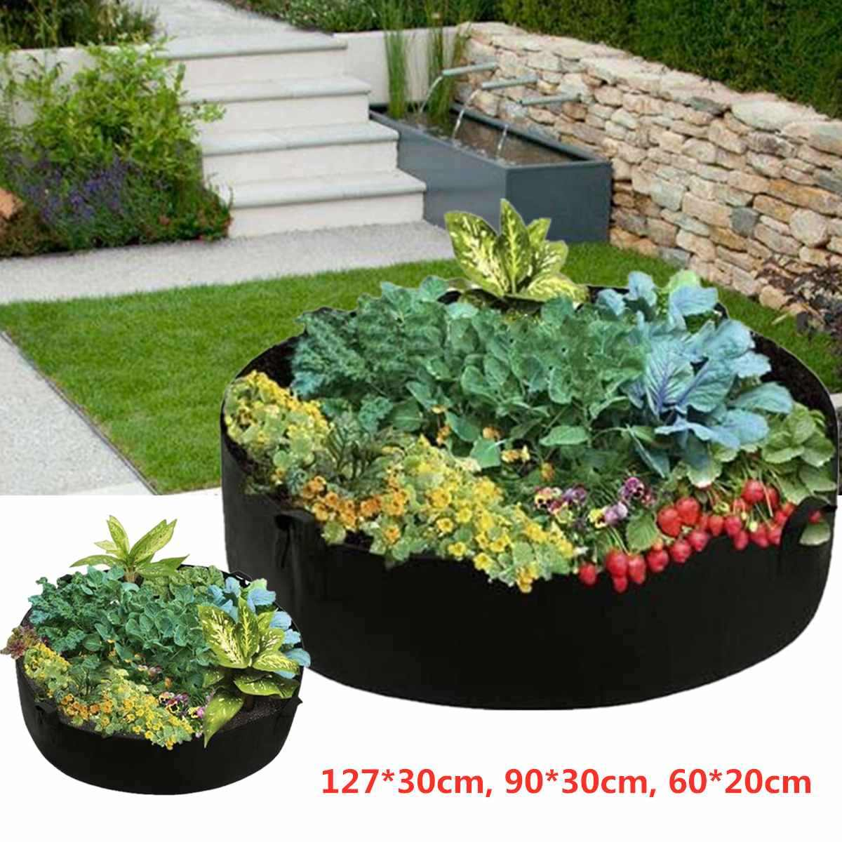 Garden Raised Plant Bed Flower Planter Elevated Vegetable Box Planting Grow Bag Round Planting Container GrowBags Nursery Pot