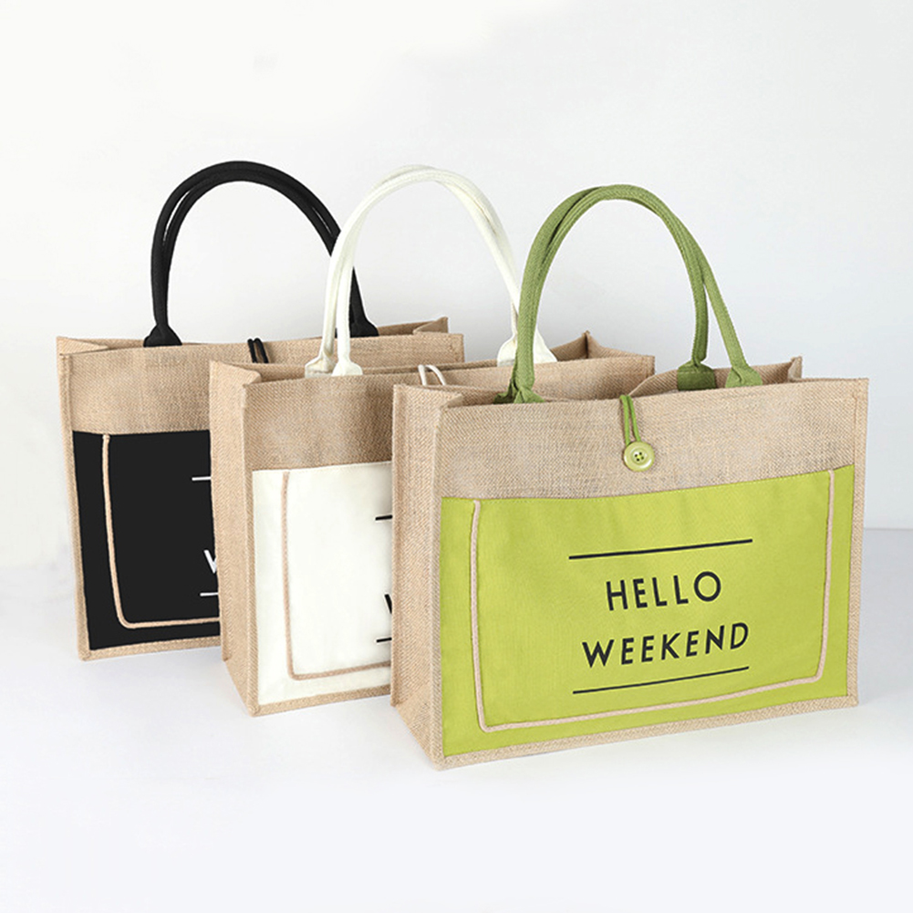 Casual Women's Linen Letter Handbags Brand Designer Large Capacity Shopping Bags Ladies Beach Travel Shoulder Bags Tote Clutch