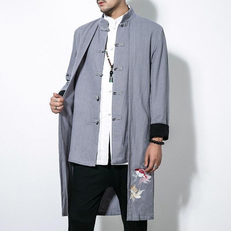 #4010 Fake Two Piece Cotton Linen   Trench   Coat For Men Mandarin Collar Windbreaker Streetwear Chinese Style Clothing Men M-5XL