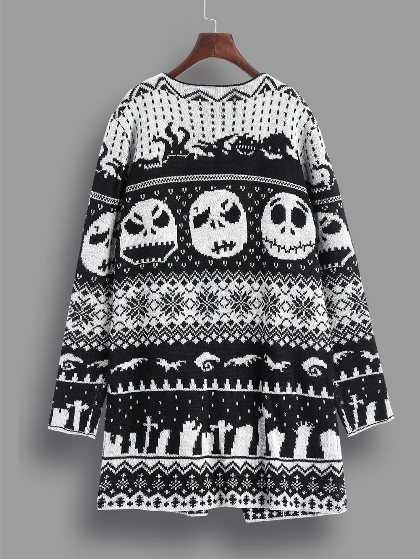 Gamiss Halloween Schädel Stricken Tunika Strickjacken Herbst Winter Frauen Lange Pullover Öffnen Stich Strick Outwear Weibliche Strickjacke