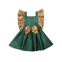 Christmas Kids Baby Girl Green Dress Princess Sequins Bowknot Tutu Dress Girls Wedding Party Birthday Dresses For Girls