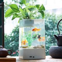 Mini Water Garden Fish Tank Aquarium Self Cleaning Grass Fish Tank Starter Kits With LED Colorful Lighting Aquarium Supplies New