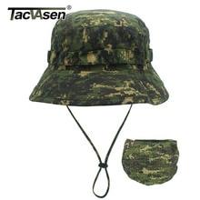 TACVASEN Taktische Hüte Camouflage Airsoft Boonie Hut Militär Armee Camo Cap Sun proof Jagd Fisch Sniper Eimer Hüte Einstellbar