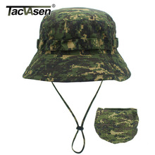 TACVASEN Tattico Cappelli Camouflage Airsoft Boonie Hat Esercito Militare Camo Cap Sole prova di Caccia di Pesce Sniper Cappelli A Secchiello Regolabile