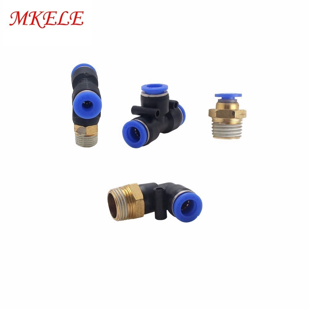 Free Shipping All Pneumatic Fitting PB PC PE PL PV PY SL Series Three way External Thread Throttle Valve Adjustment in Pneumatic Parts from Home Improvement
