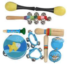 7 Pcs Musical Instrument Set Percussion Tambourine Drum Maracas Early Learning Educational Toys for Children Toddler Kids