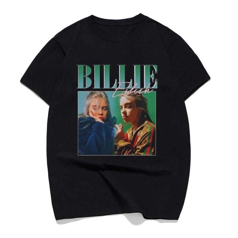 T     Shirts   Billie Eilish Print 90s Vintage Black   T  -  Shirt   Brand   T     Shirt   Men/women Tops Tee 100 Cotton Casual Black Street Clothing