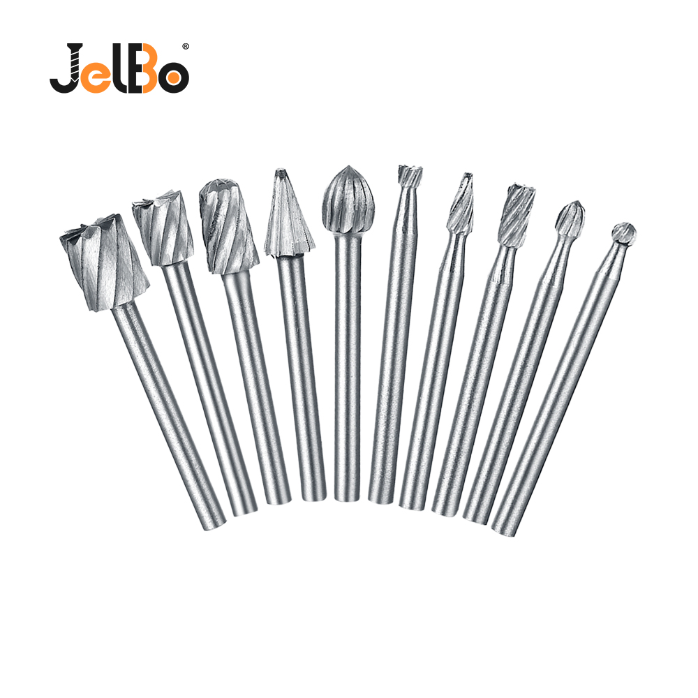 JelBo 10pcs Mini Drill Bit Hole Saw Woodworking Carving Tool Knife For Cutter Engraving Milling Drill Bit Grinder Power Tool Kit