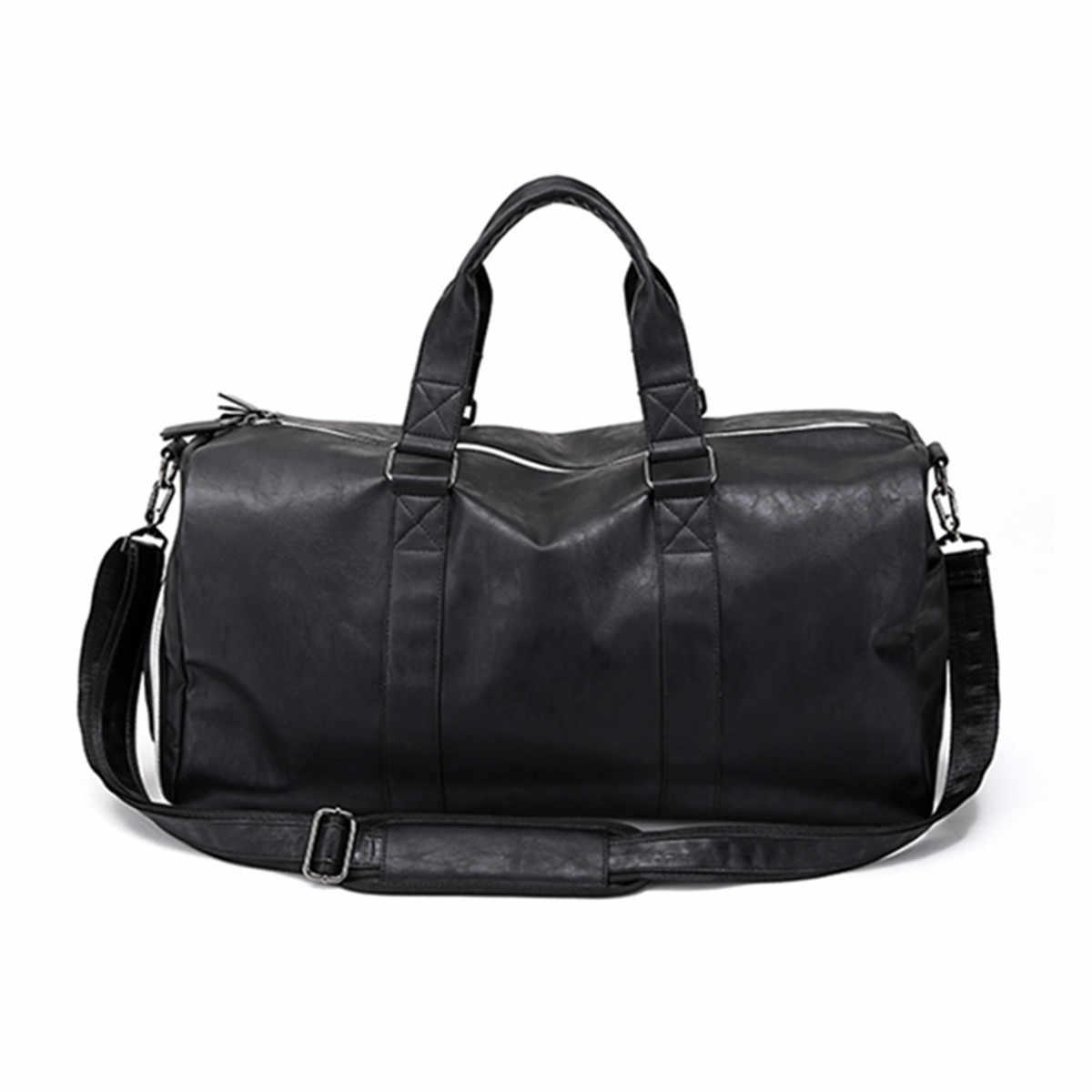 AEQUEEN siyah erkekler seyahat silindir çanta su geçirmez PU deri çantalar omuzdan askili çanta kadın erkek tote büyük kapasiteli haftasonu çanta