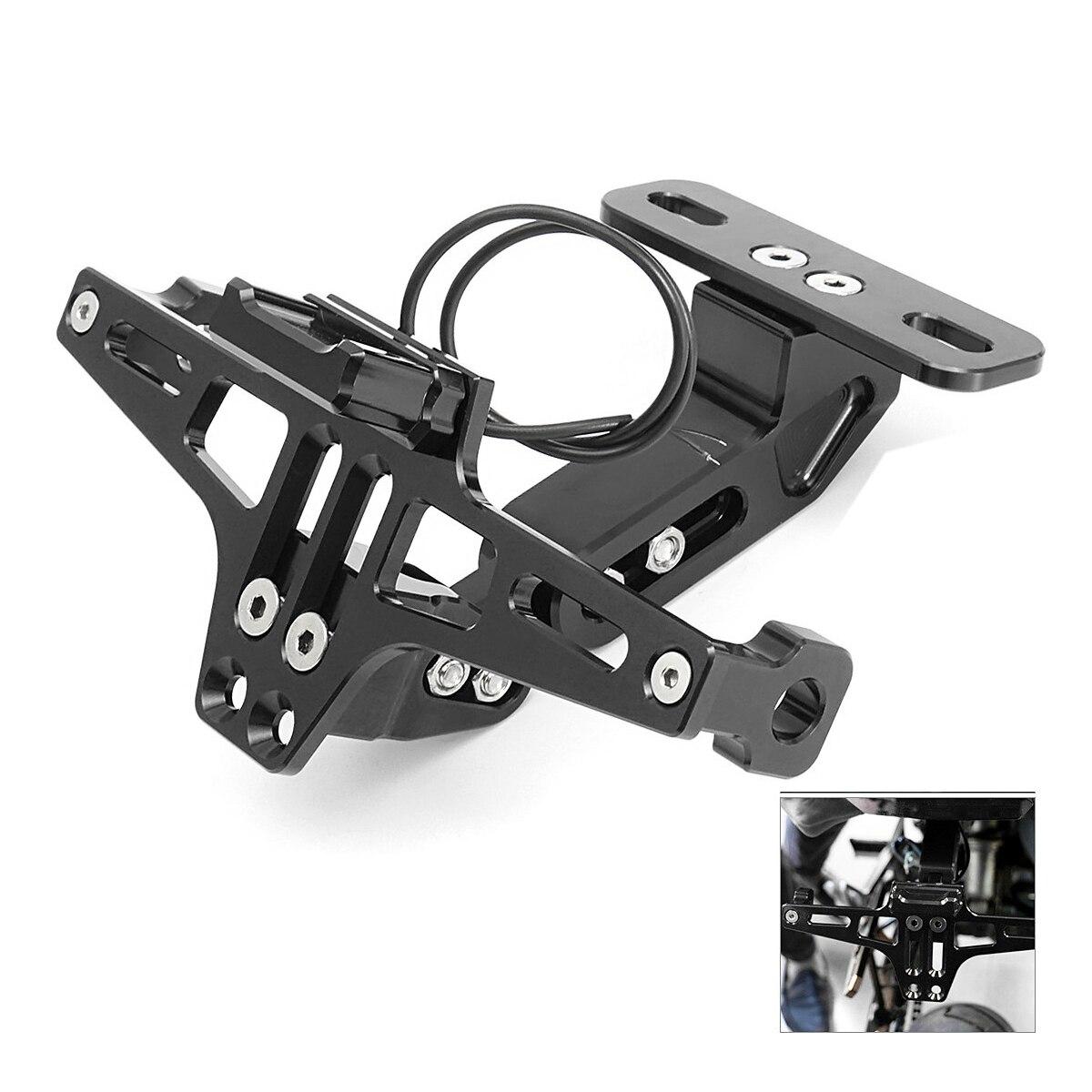 CNC cadre moto permis porte-plaque d'immatriculation support avec lumière LED réglable pour Yamaha Bws R25 R3 Mt03 Msx
