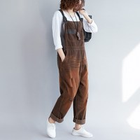Loose Casual Corduroy Jumpsuits Vintage Sleeveless Ripped Jumpsuits Retro Backless Overalls Strapless Paysuits Female