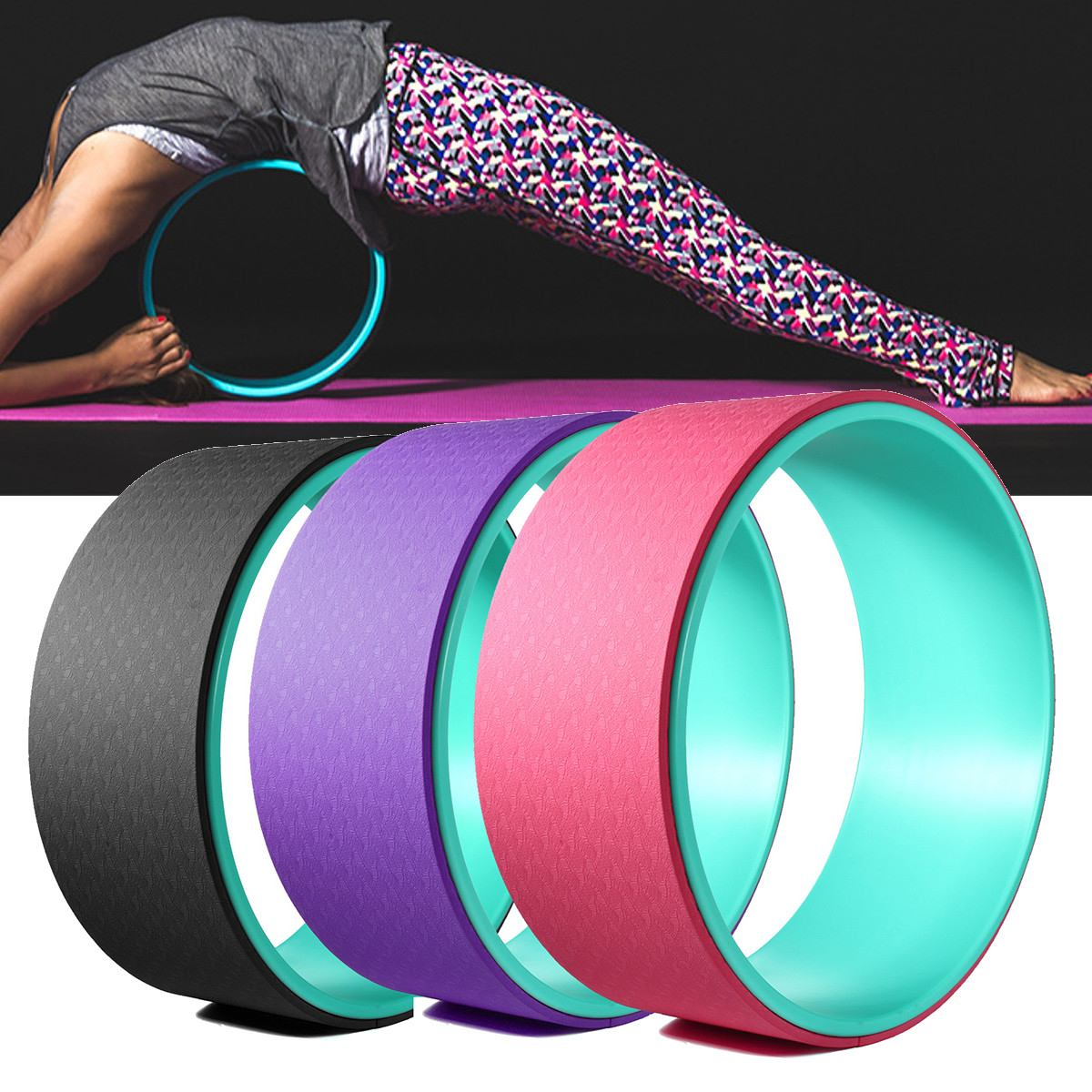 ①  TPE Yoga Wheel Muscle Расслабляющий Фитнес-Экстра Сила Йога Круги Тренажерный Зал Реквизит Фитнес Бо ✔