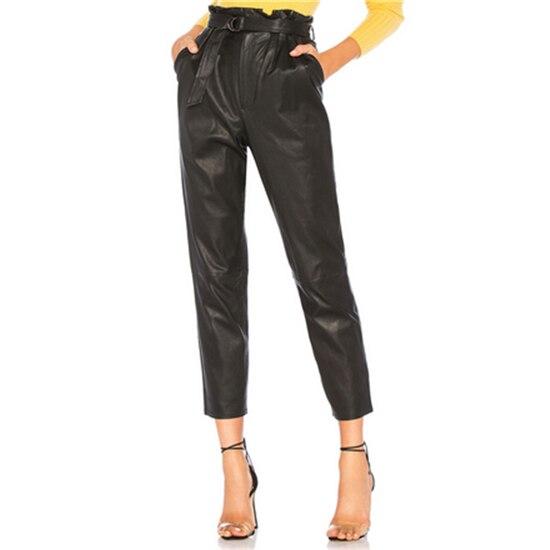 Autumn Black Women PU Leather   Pants   2019 Belt   Capris     Pants   Trousers Women High Waist Stretch Straight   Pants   Ankle Length   Pant