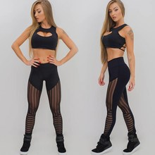 New Summer Striped Patchwork Women Mesh Legging Bodybuilding Elastic Sexy Leggings Sporting Fitness Solid Pants