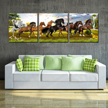 Modern Canvas Painting wall Without Frame 3 Panel Pentium 8 Horse Poster HD Print Picture For Living Room Home Decoration