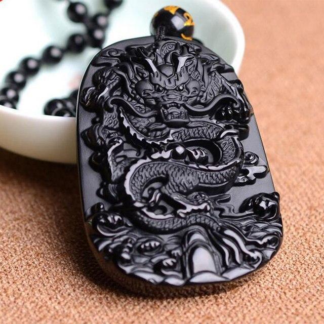KYSZDL זרוק חינם יפה סיני עבודת יד שחור Obsidian מגולף הדרקון קמע מזל תליון שרשרת גברים נשים תכשיטים