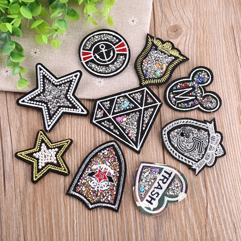 Pgy Pgy Colorful Stars Rhinestones Patches For Clothes 6cm Sewing On Embroidered Applique Diy Sticker For Wedding Dress Patches Apparel Sewing & Fabric