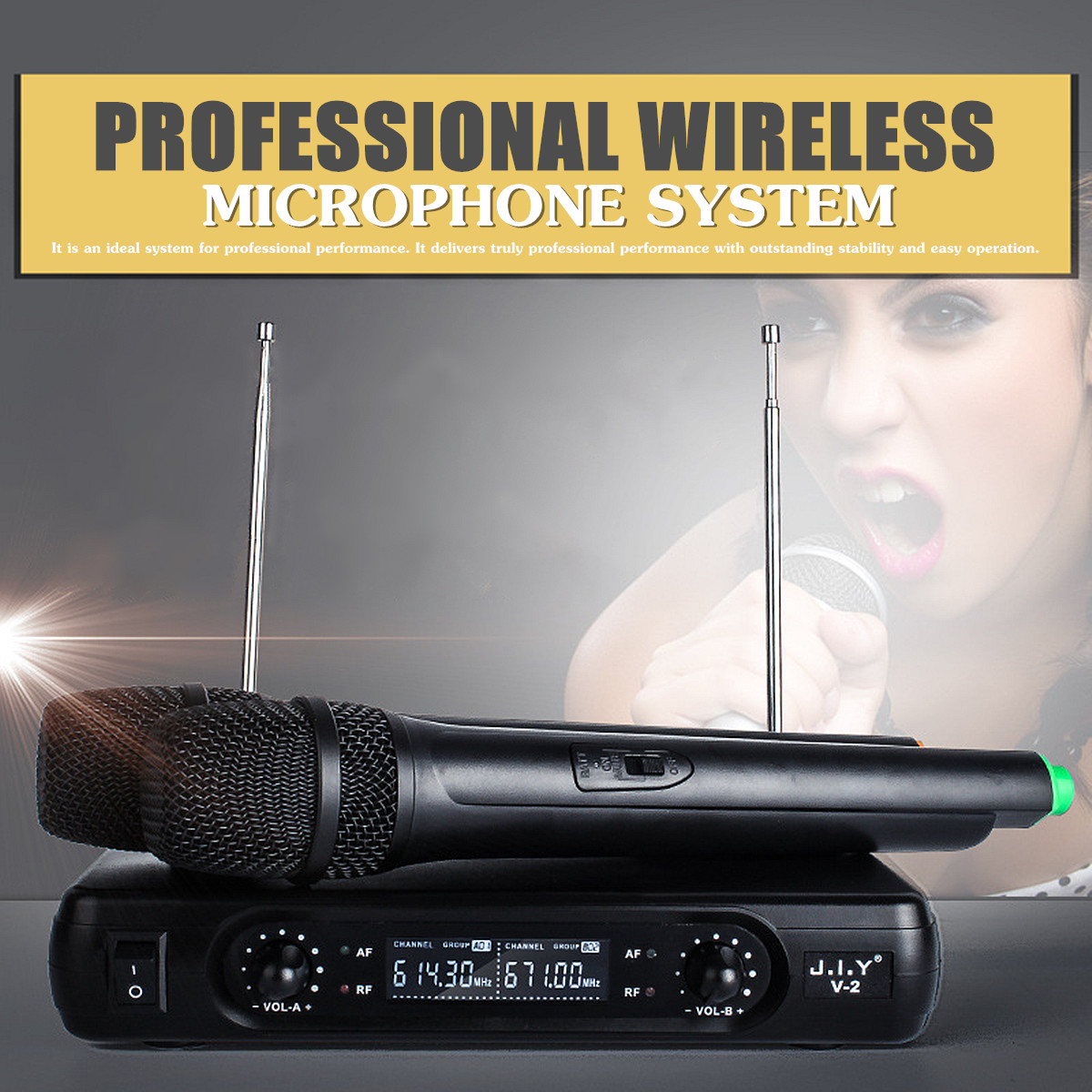 LEORY Wireless Microphone System 2 x Microphones High-fidelity Reproduce 100M True Voice Voice Compression Large Receiving RangeLEORY Wireless Microphone System 2 x Microphones High-fidelity Reproduce 100M True Voice Voice Compression Large Receiving Range