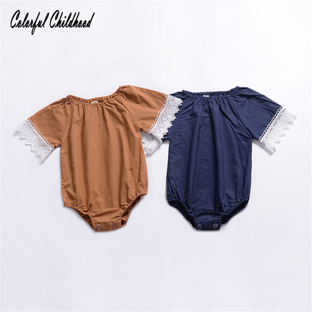 b5dcbc287ddf Aliexpress.com   Buy Summer romper baby girls short sleeve lace ...