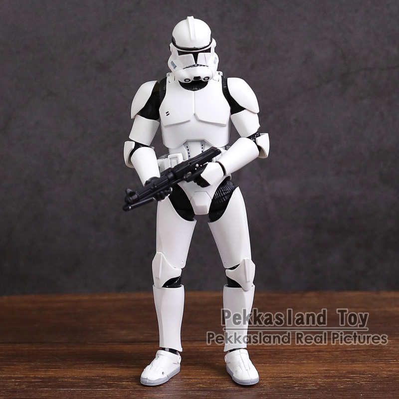 SHF  Clone Trooper PHASE II / PHASE I Captain PVC Action Figure Collectible Model Toy