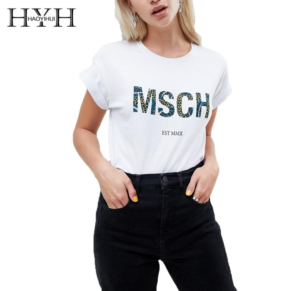 HYH Haoyihui Letter Print T shirt Brand New Hot Summer Pure Color Simple Commuter College Wind Jungle Short Sleeve in T Shirts from Women 39 s Clothing