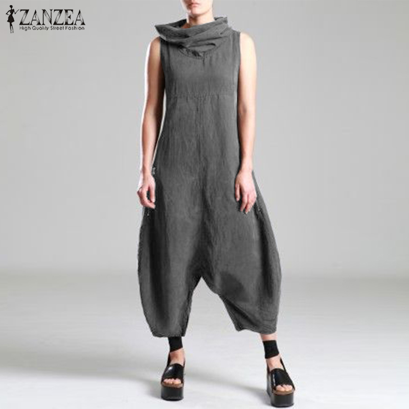 2019 Plus Size ZANZEA Summer Women Solid Turtleneck Sleeveless Cotton Linen Jumpsuits Harem Overalls Pants Drop Crotch Rompers