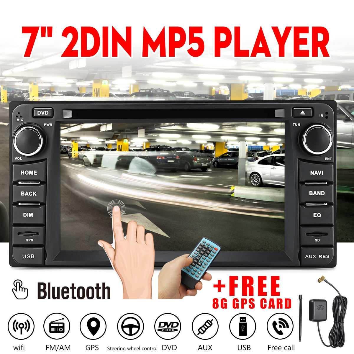 7 pouces 2 DIN bluetooth WiFi FM DVD autoradio MP5 lecteur 8G GPS carte DVD CD écran tactile voiture lecteur multimédia pour Toyota