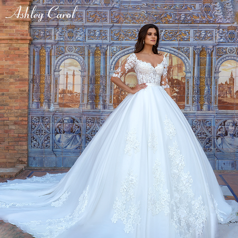 Ashley Carol Lace Princess Wedding Dresses Ball Gown Sexy Vestido Novia Handmade Elegant Vintage Wedding Gowns Vestido De Noiva