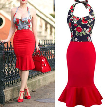 Womens Vintage Retro Dresses 50s 60s Robes Rockabilly Swing Trumpet Patchwork Floral Fake Two Piece 2019 Summer Dress Plus Size