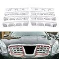 8 шт. ABS Хромированная передняя Центральная решетка для автомобиля Накладка на решетку для Nissan Qashqai Dualis 2007 2008 2009 2010 2011 2012 2013