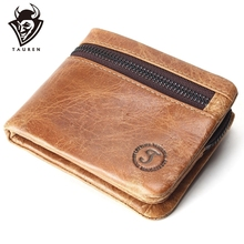 Genuine Leather Mens Wallets Brand Brown Zipper Design Bifold Short Men Purse Male Clutch With Card Holder Coins Purses Wallet