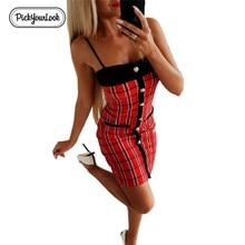 Pickyourlook Women Dress Sexy Spaghetti Strap Bodycon Bandage Basic Plaid Vintage Summer Short Solid Strapless Vestido