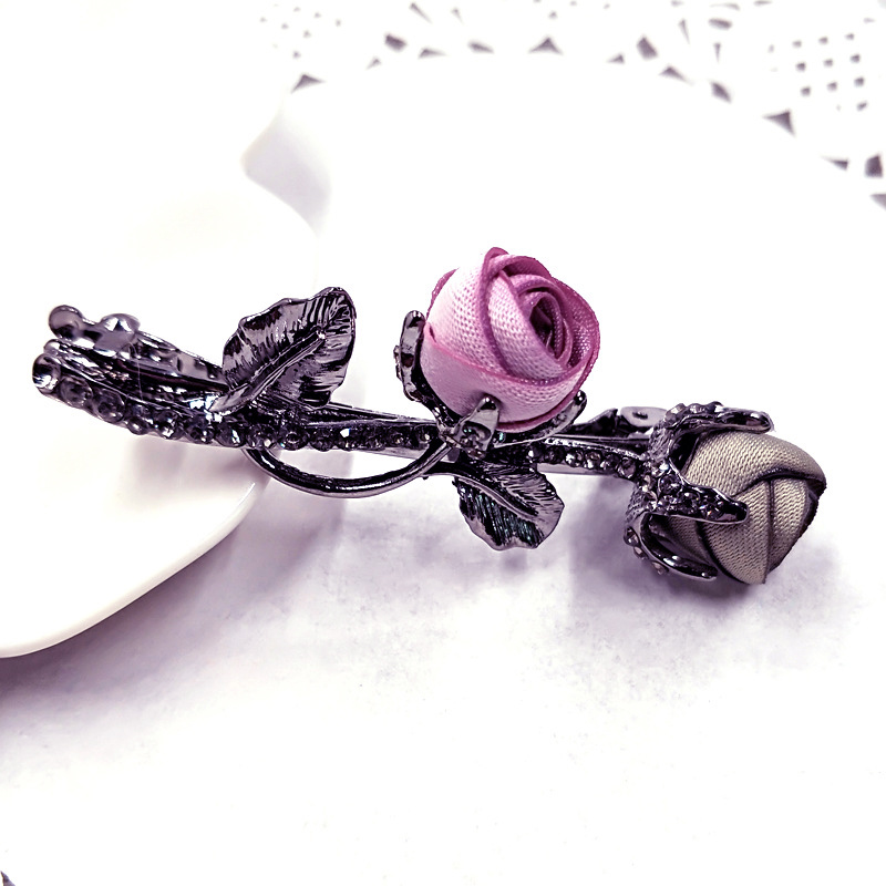 Simple Charming Rhinestones Rose Hair Clips Elegant Hair Accessories Engagement Wedding Party Christmas Gifts Ponytail in Women 39 s Hair Accessories from Apparel Accessories