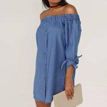 b6e19c61ef 2018 Plus Size Summer Shirt Dress Women Sexy Off Shoulder Denim Dresses  Casual Long Sleeve Loose Cowboy Beach Party Vestidos