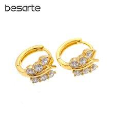 Женские золотые серьги кольца в виде бабочек e1833a
