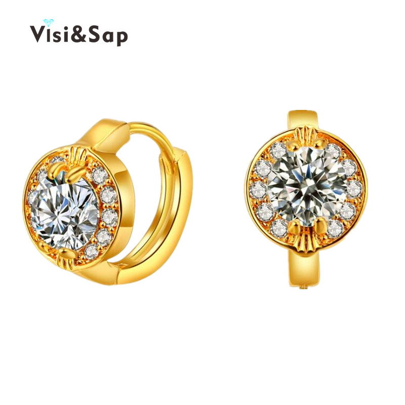 Visisap Dazzling AAA Cubic Zirconia Hoop Earrings For Women Luxury Party Gifts Earrings Yellow Gold Color Vintage jewelry VSE019