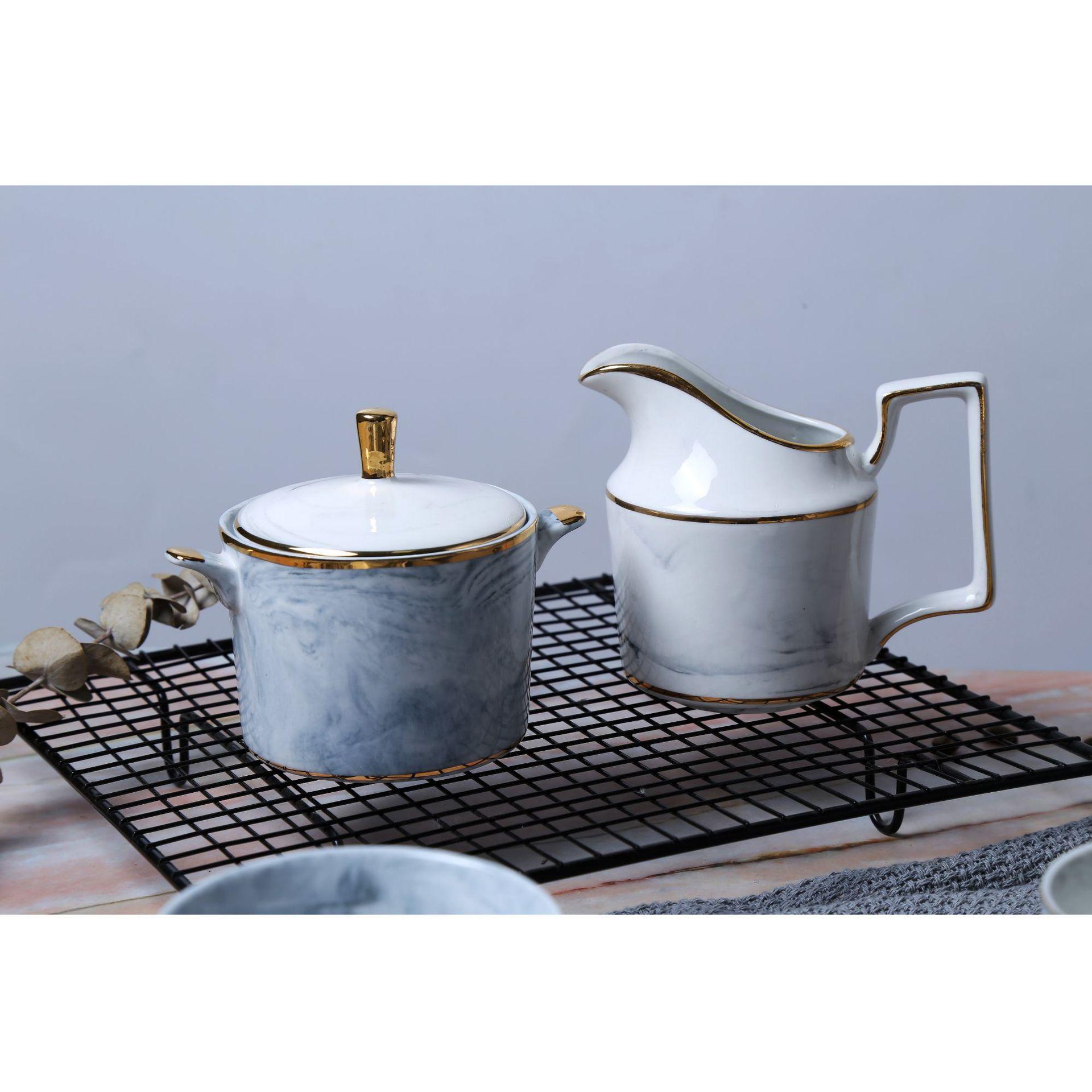 1 Комплект костяного фарфора набор посуды кружка костюм домашний с керамическим блюдцем набор чайник с цветами чашка фильтровальный чайник... - 2