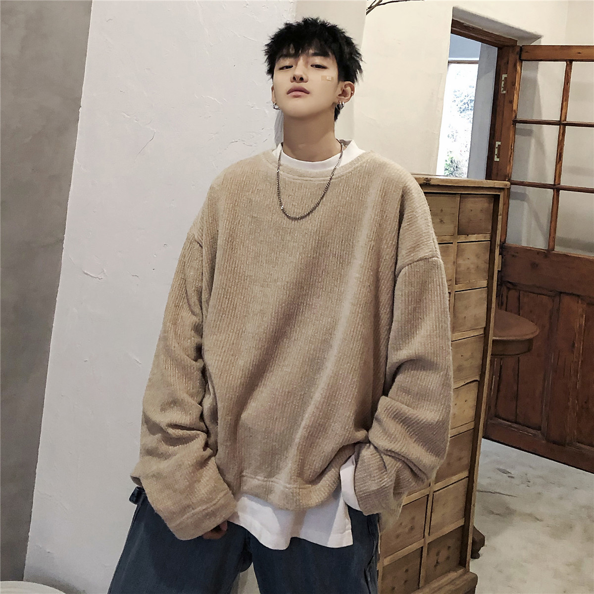 2019 Spring Men's Cotton Loose Clothes Hoodies Pullover High-quality Coats Casual Round Collar Solid Color Sweatshirt Size M-XL