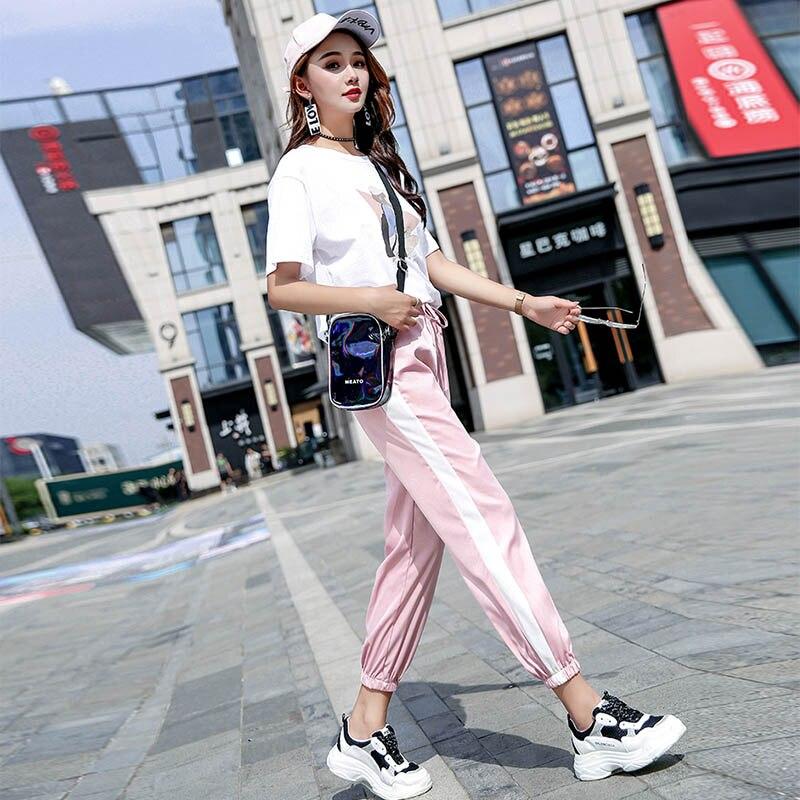 Лучший!  Loyalget Повседневные спортивные брюки женские спортивные штаны и бегуны лоскутное полосатые спортив