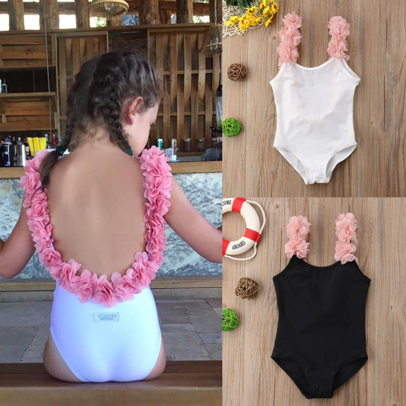One Piece Baby Girl 3D Floral Flower Strap Bathing Suit Backless Swimsuit Swimwear Swimming Suit(China)