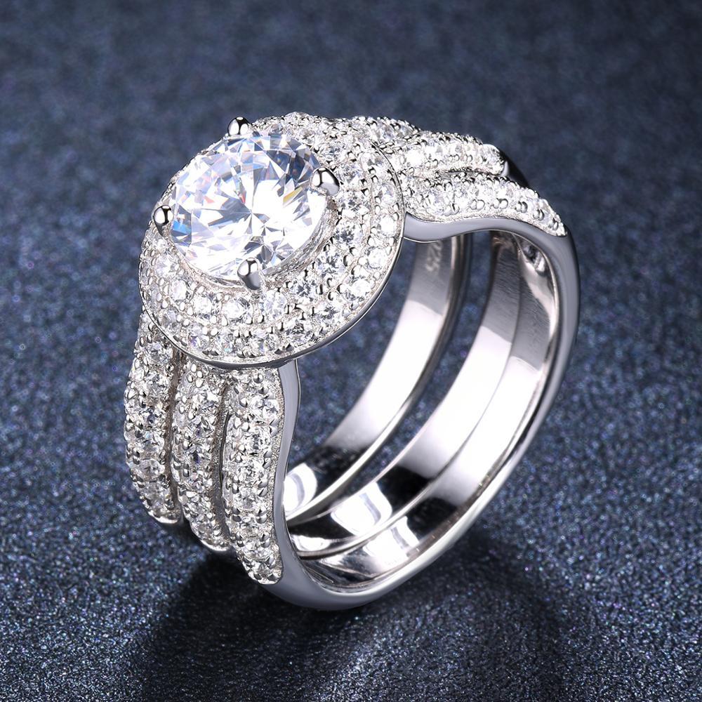 4.6Ct luxe diamant bague de mariage ensembles 2-en-1 solide 925 en argent Sterling rond CZ bagues de fiançailles pour les femmes proposition de mariée cadeau
