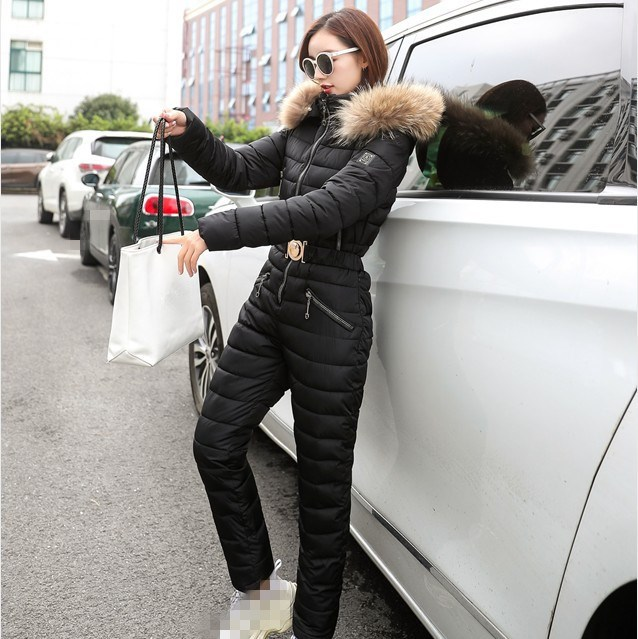 New Fashion Faux Fur Hooded Jumpsuits Parka Elegant Cotton Padded Warm Sashes Ski Suit Zipper One Piece Women Casual Tracksuits