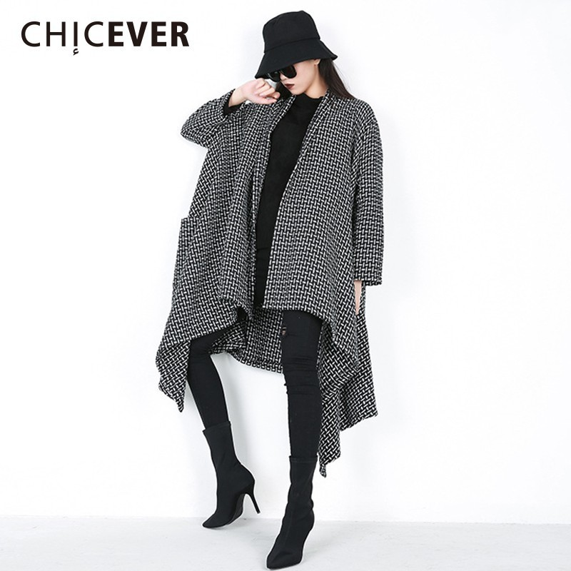 CHICEVER Winter   Trench   Coat For Women's Windbreaker Lapel Long Sleeve Open Stitch Irregular Windbreakers Fashion Casual Clothes