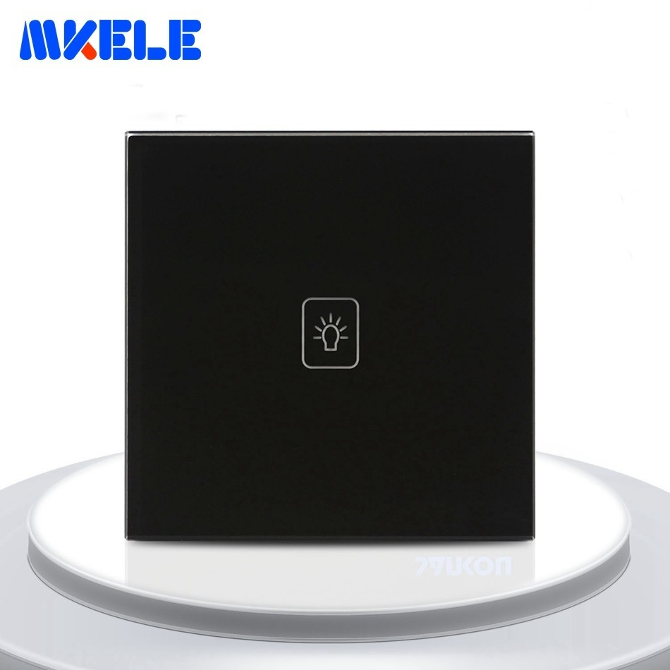 EU Standard Touch Switch Black Crystal Glass Panel 1 Gang 2 Way Light Switch Touch Screen Wall Switch Socket For LampEU Standard Touch Switch Black Crystal Glass Panel 1 Gang 2 Way Light Switch Touch Screen Wall Switch Socket For Lamp